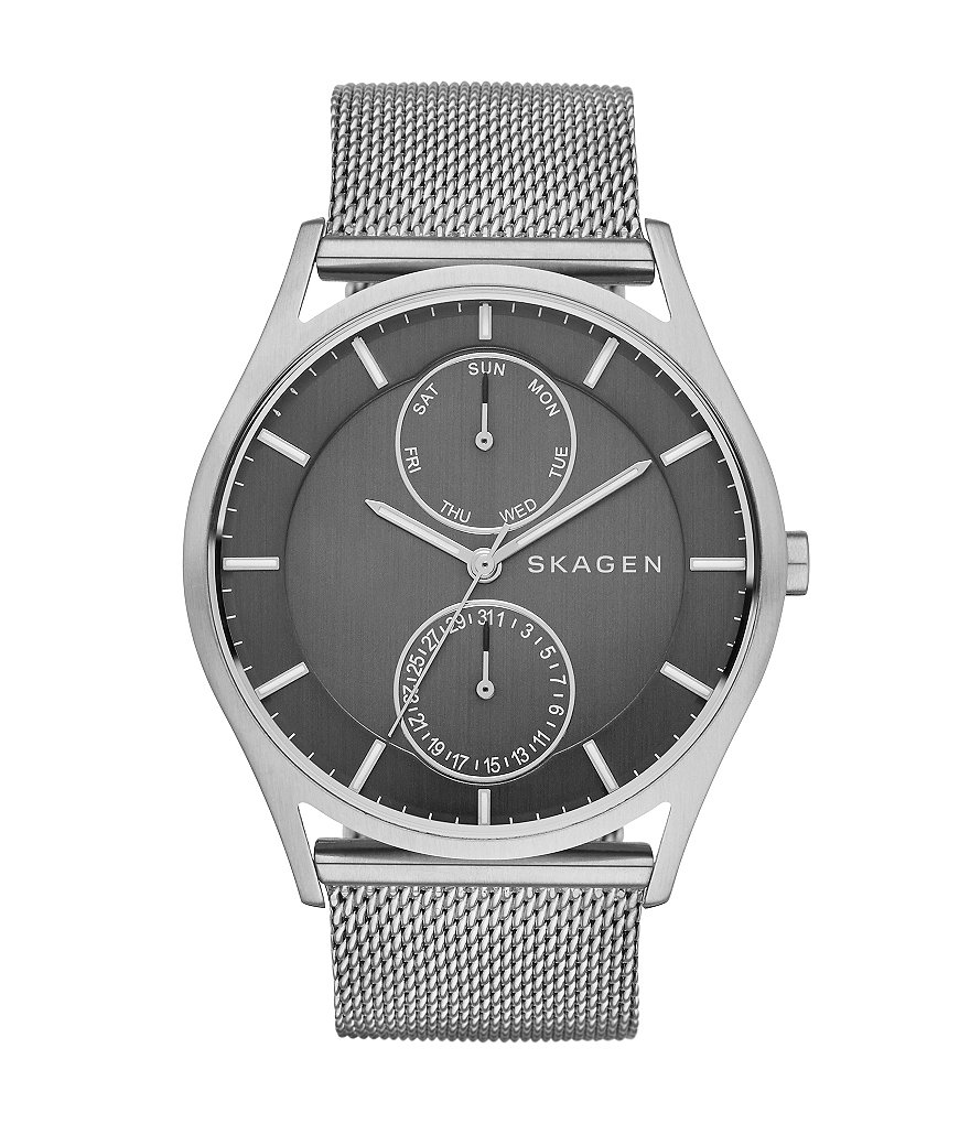 Skagen Stainless Steel Multifunction Mesh Strap Watch