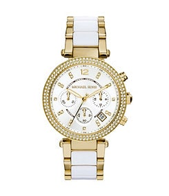 Michael Kors Parker Gold & White Chronograph Watch