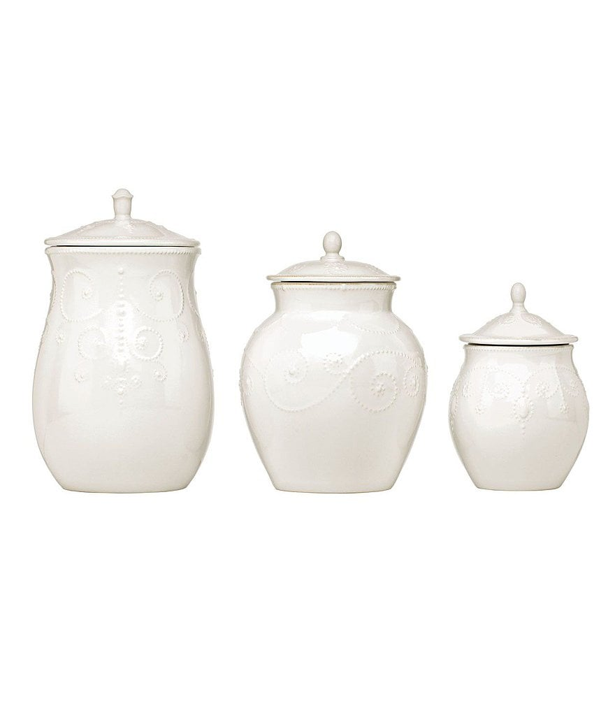 Lenox China French Perle White Set of 3 Canisters