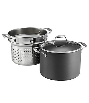 Southern Living 8-Quart Hard-Anodized Covered Stockpot with Pasta Insert