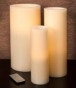 Southern Living Unscented LED Pillar Candles and Remote Control
