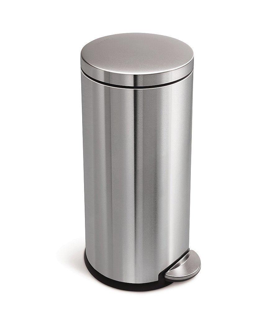 simplehuman 30-Liter Round Step Trash Can in Brushed Stainless Steel