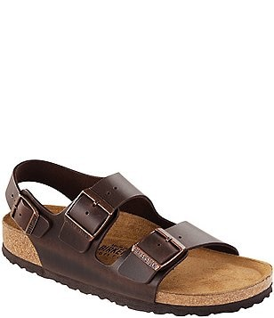 Birkenstock Milano Leather Double Banded Buckle Slingback Sandals