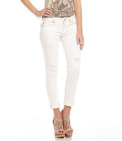 Miss Me Mid-Rise Distressed Cuffed Skinny Jeans