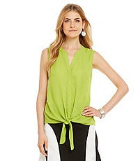 Investments Sleeveless Tie-Front Blouse