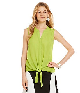 Investments Sleeveless Tie-Front Blouse Image