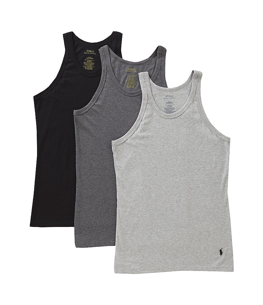 Polo Ralph Lauren Slim-Fit Cotton Tanks Assorted 3-Pack