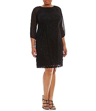 Adrianna Papell Plus Sheer-Sleeve Lace Shift Dress