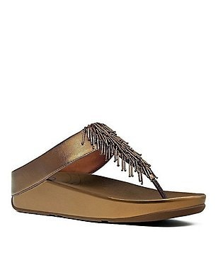 FitFlop Cha Cha Metallic Beaded Thong Style Slip On Sandals