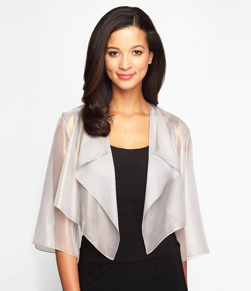Alex Evenings 3/4 Sleeve Cascade Ruffle Jacket