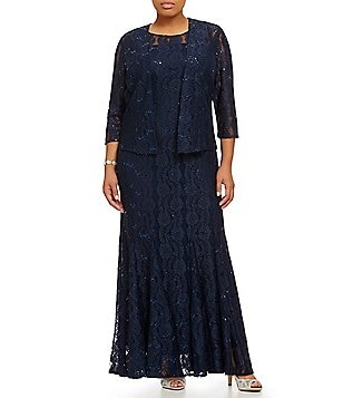 Alex Evenings Plus Lace Jacket Gown