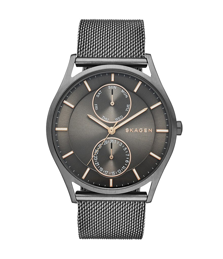 Skagen Holst Men´s Grey Stainless Steel Mesh Bracelet Watch