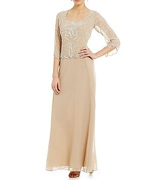 Jkara 3/4-Sleeve Beaded Gown