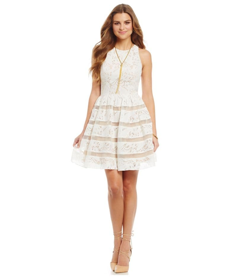 Aidan Aidan Mattox Lace Fit-and-Flare Dress