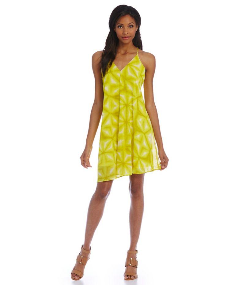 Calvin Klein Printed Chiffon Trapeze Dress