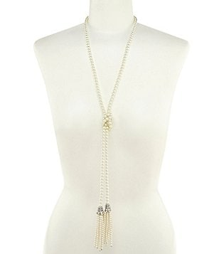 Belle Badgley Mischka Pearl Tassels Necklace
