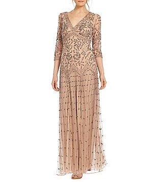 Pisarro Nights Floral-Beaded Drop-Waist Gown