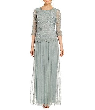 Pisarro Nights Mock 2-Piece Beaded Gown