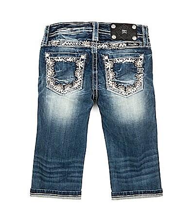 Miss Me 7-16 Daisy-Embroidered Denim Capri Jeans