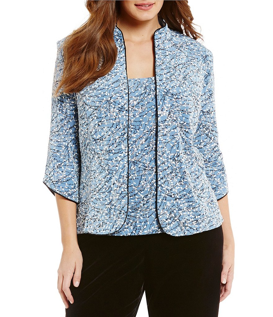 Alex Evenings Plus 3/4-Sleeve Printed Twinset