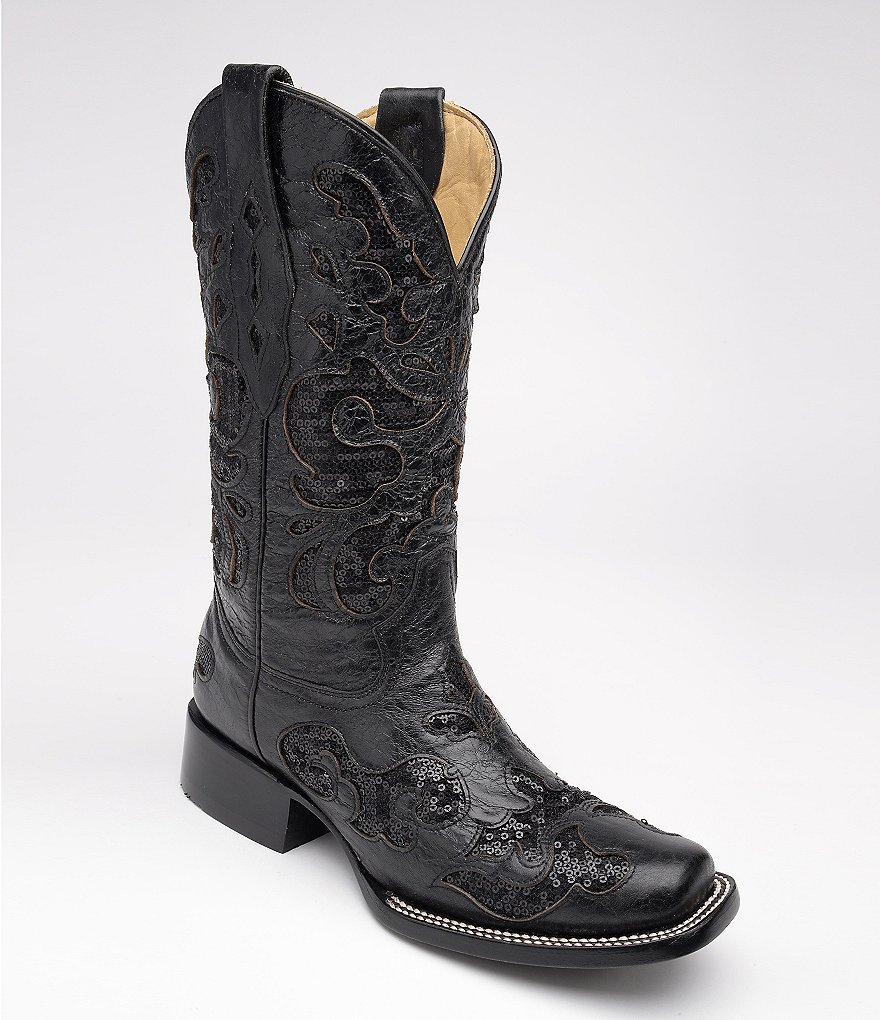 Corral Boots Sequined Square-Toe Boots
