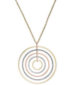 Michael Kors Tri-Tone Statement Disc Pendant Necklace