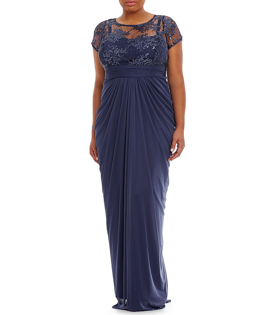Adrianna Papell Plus Embroidered Sequin Gown