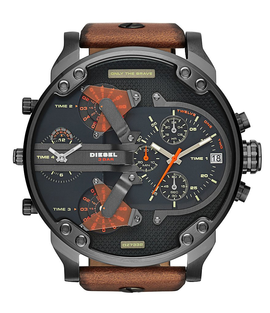 Diesel Men´s Mr. Daddy 2.0 Multifunction Gunmetal IP Leather Strap Stainless Steel Case Watch