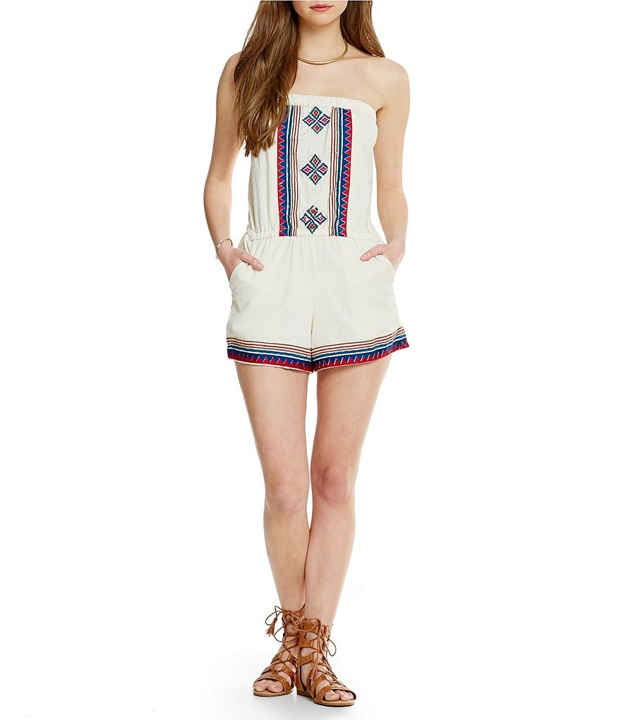 Angie Embroidered Strapless Romper