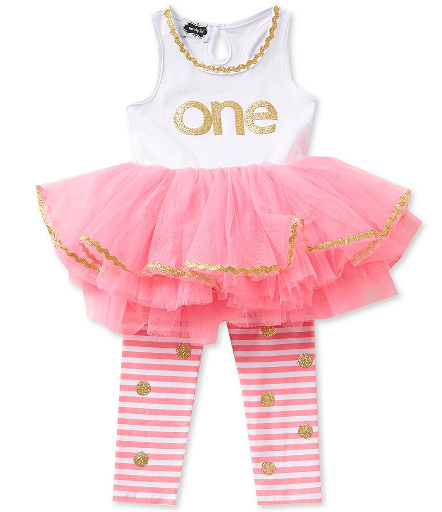 Mud Pie Baby Girls 12-18 Months Birthday Glitter Tutu Dress and Glitter-Dot Striped Leggings Set