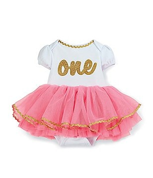 Mud Pie Baby Girls 12 Months Birthday Tutu Crawler