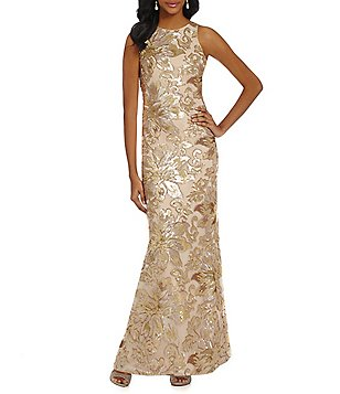 Belle Badgley Mischka Floral Sequin Gown