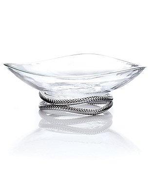 Nambe Braid Glass Bowl with Stand