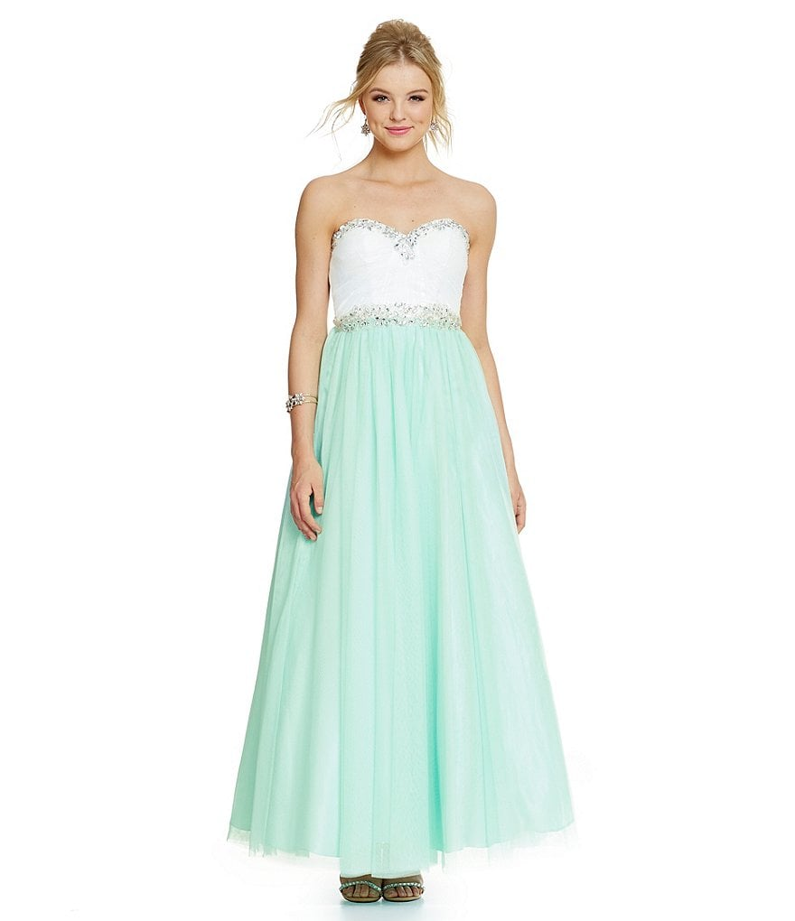 B. Darlin Strapless Color Block Jeweled Trim Ball Gown