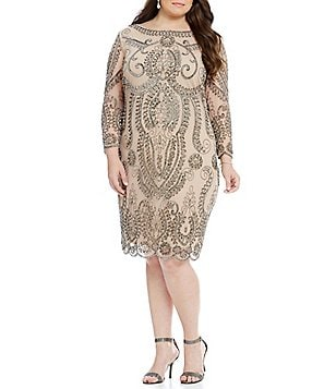 Pisarro Nights Plus Beaded Sheath Dress