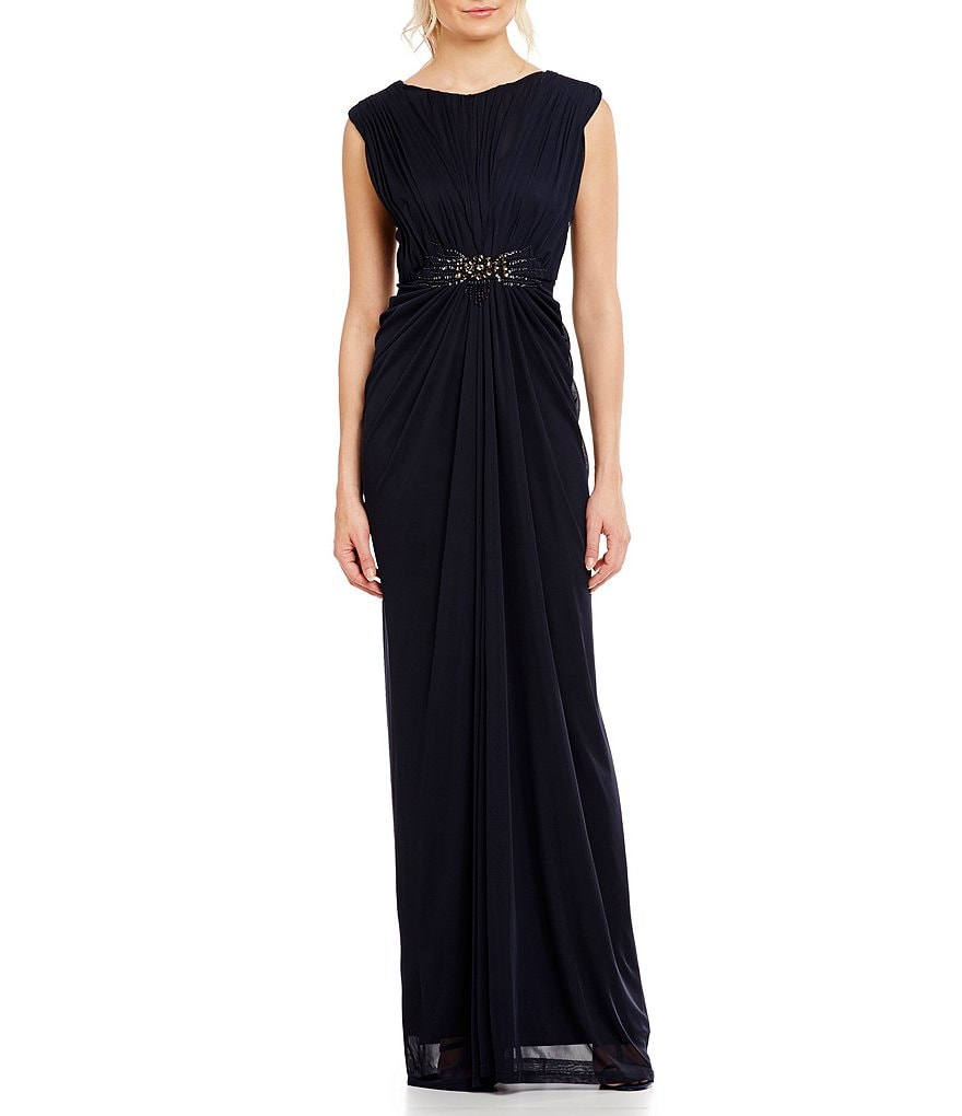Adrianna Papell Cap Sleeve Beaded Tulle Gown