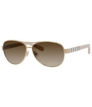 kate spade new york Dalias Striped Leather-Wrapped Gradient Aviator Sunglasses