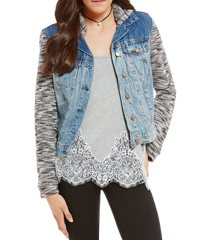 Jessica Simpson Marled-Sleeve Pixie Hooded Denim Jacket