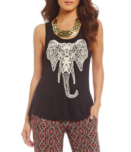 I.N. San Francisco Crochet Elephant Tank Top