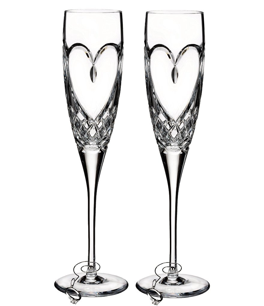 Waterford True Love Heart Wedding Toast Flute Pair
