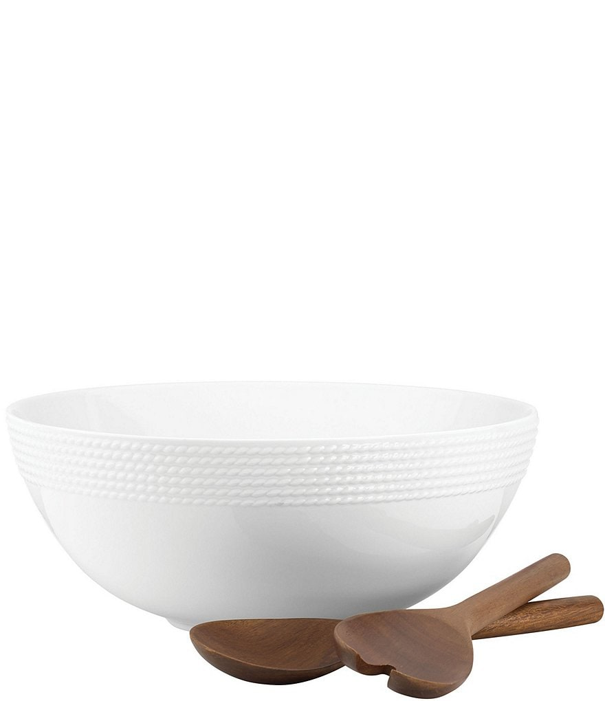 kate spade new york Wickford Porcelain Salad Serving Bowl with Wooden Servers