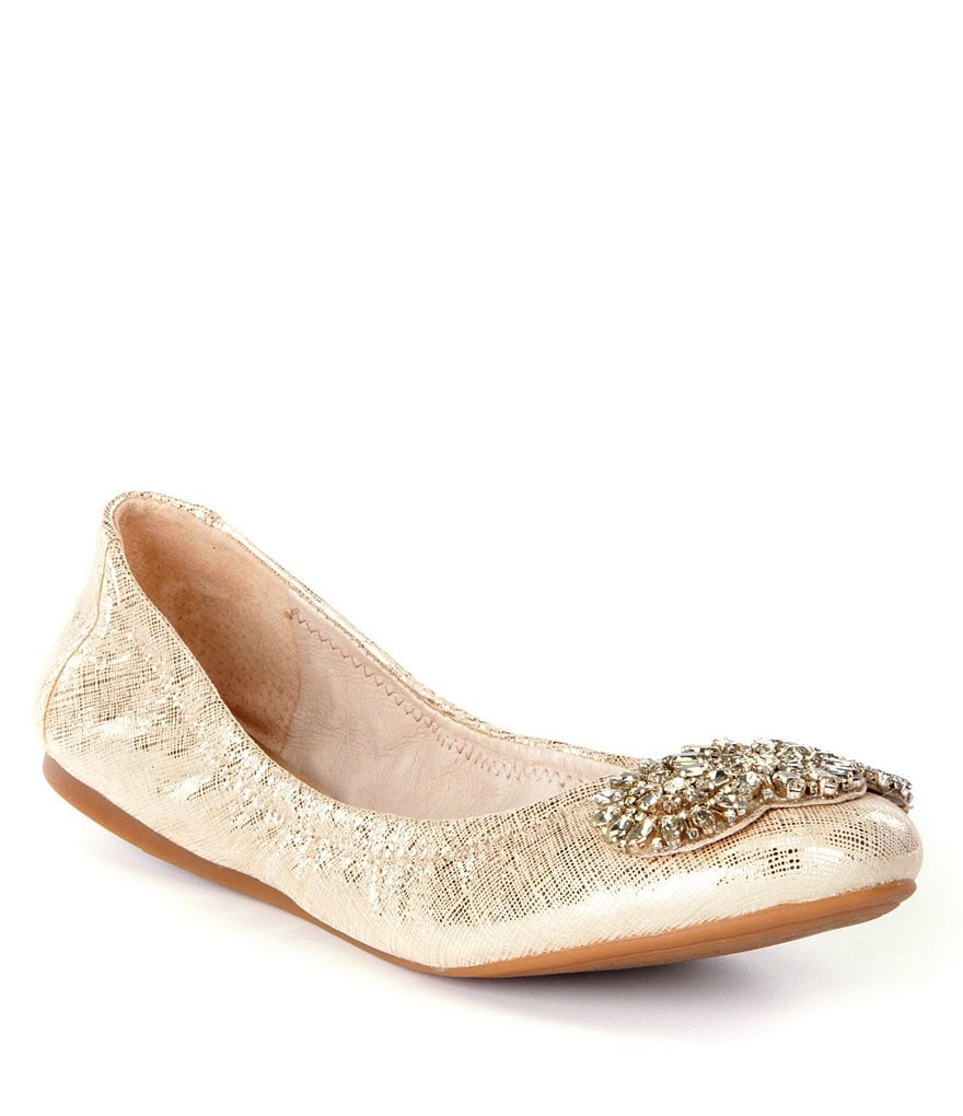 Antonio Melani Petah Metallic Leather Jeweled Flats