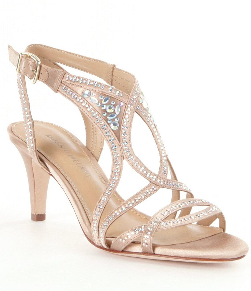 Antonio Melani Taiya Jeweled Satin Dress Sandals