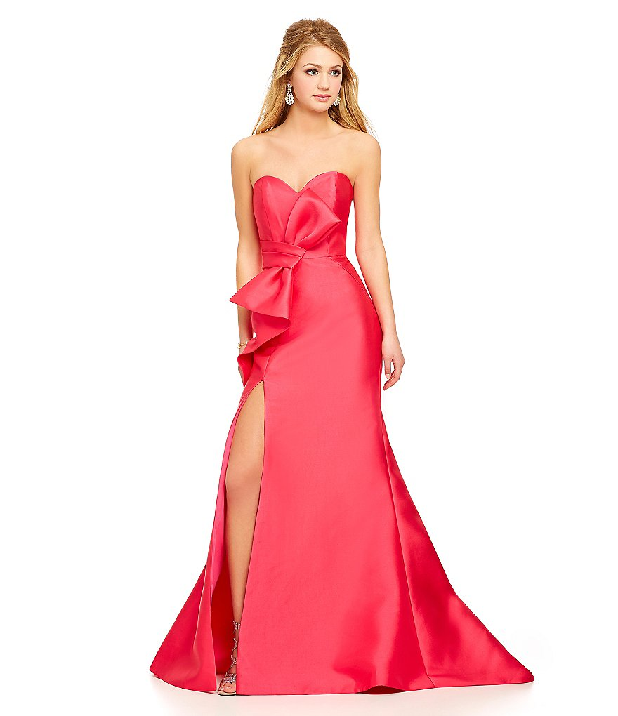 Savannah Nights Strapless Bow Front Gown