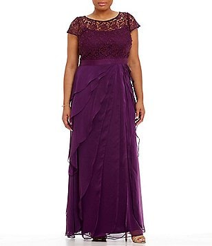 Adrianna Papell Plus Lace Bodice Flutter Gown