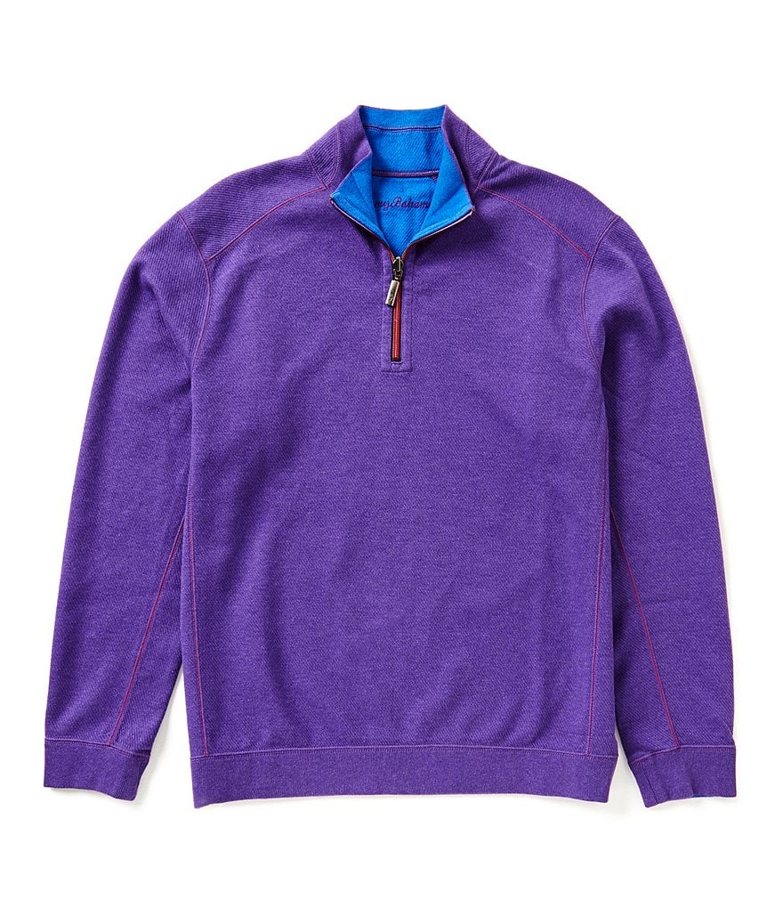 Tommy Bahama Flip Side Twill Reversible Half-Zip Pullover