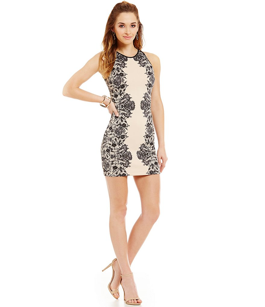 B. Darlin Printed Lace Scuba Sheath Dress