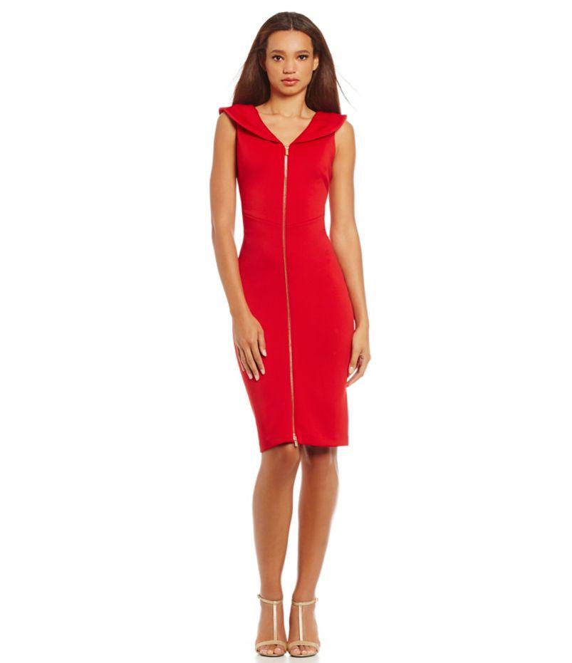 Calvin Klein Portrait-Collar Scuba Sheath Dress