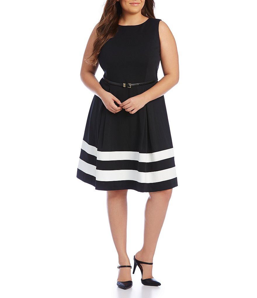 Calvin Klein Plus Belted Fit-and-Flare Dress
