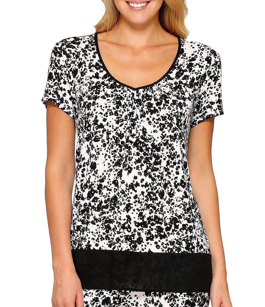 Anne Klein Printed Jersey Top